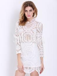 long sleeve hollow lace dress shein sheinside