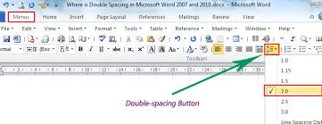 Where is the Double Spacing in Microsoft Word 2007 2010 2013 and