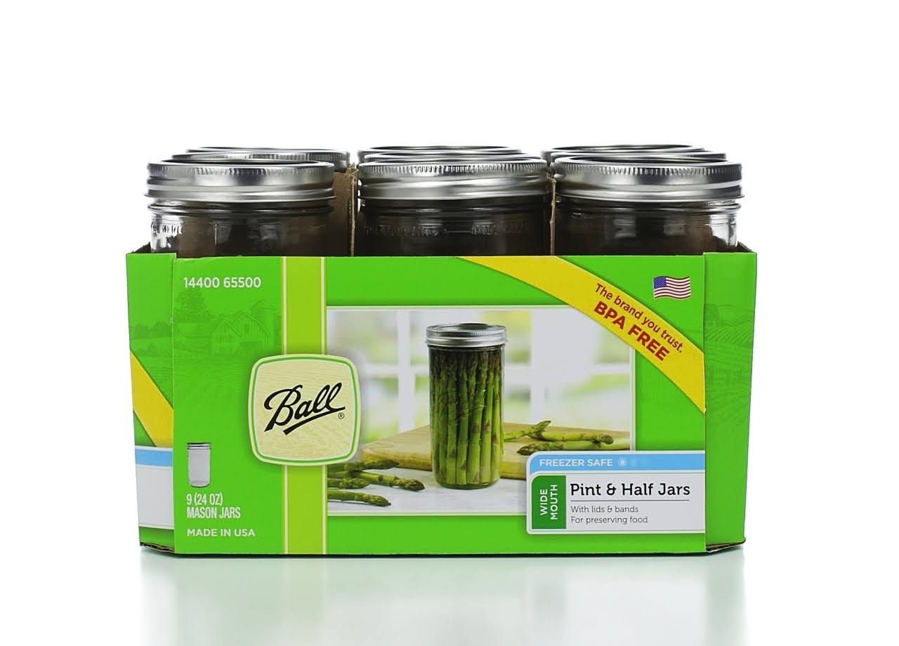Ball Wide Mouth Glass Mason Jars - 24oz, 9pk
