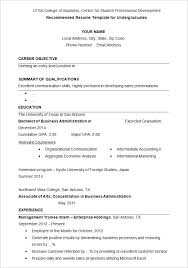 Sample Under Graduates Resume Template
