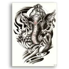 Temporary Fake Tattoo Water Transfer Waterproof Sticker Indian Elephant God Ganesha Large Black Hand Sexy Glitter