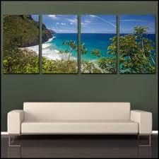 Kee Beach Coastal Overlook Kauai Tropical 4 Piece Fine Art Canvas