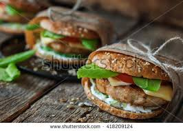Homemade Traditional Hamburgers Pork Cheese Vegetables Wooden Wrapped Up Paper Textured Background Healthy Unhealthy Concept