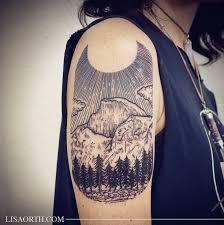 Geometric Scenery Tattoo On Right Half Sleeve