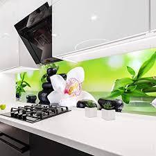 wandmotiv24 küchenrückwand orchidee bambus steine glas 160 x 50cm b x h acrylglas 4mm nischenrückwand spritzschutz fliesenspiegel ersatz deko