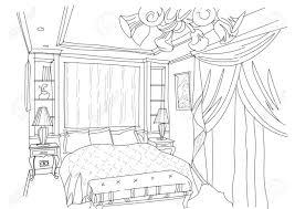 moderne innen kritzeleien schlafzimmer auf weißem background living raum zeichnen skizze