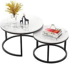 zrxian kaffeetische runder couchtisch aus mdf moderner cocktail center tisch für das wohnzimmer in weiß 70 cm 50 cm 2er set