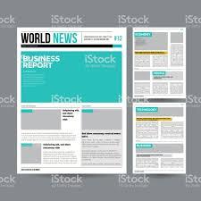 Newspaper Design Template Vector Modern Layout Financial Articles Business Information