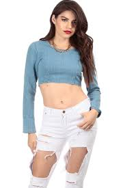 long sleeve denim crop top cicihot top shirt clothing online