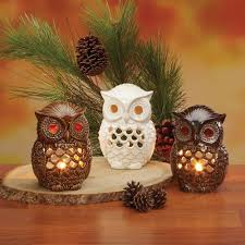 Owl Decorations with Archaic Owl Candle Holders Figurines and