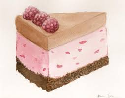 Raspberry Ice Cream Cake Slice by Alicia Severson Original watercolor painting