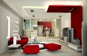 Interior Colour Schemes Modern Red White Living Room