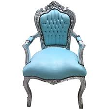casa padrino barock esszimmer stuhl mit armlehnen türkis silber möbel antik stil