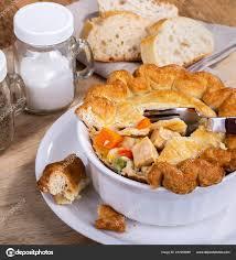 100 Golden Crust Chicken Vegetable Pot Pie White Bowl Stock