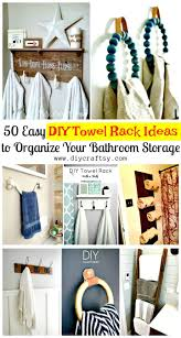 50 Easy DIY Towel Rack Ideas To Organize Your Bathroom Storage - DIY ... Hanger Storage Paper Bathro Ideas Stainless Towel Electric Hooks 42 Bathroom Hacks Thatll Help You Get Ready Faster Racks Tips Cr Laurence Shower Door Bar Doors Rack Diy Decor For Teens Best Creative Reclaimed Wood Bath Art And Idea Driftwood Rustic Bathroom Decor Beach House Mirrored Made With Dollar Tree Materials Incredible Hand Holder Intended Property Gorgeous Small Warmer Bunnings Target Height Style Combo 15 Holders To Spruce Up Your One Crazy 7 Solutions Towels Toilet Hgtv