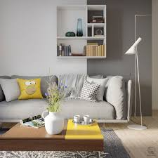 Grey And Yellow Open Plan Small Apartment Tour Livingroom
