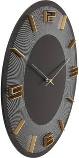 kare design wanduhr leonardo schwarz gold dekouhr rund küchenuhr in schwarz mit goldenen akzenten moderne uhr für wohnküche wohnzimmer h b t