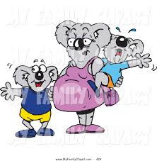1024x1044 Clip Art Of A Pregnant Koala Mom With Crying Baby And Happy