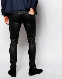 asos super skinny jeans in black reptile look in black for men lyst
