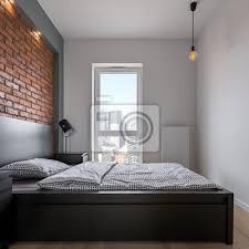 fototapete loft schlafzimmer mit doppelbett