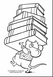 Fantastic Library Coloring Pages With School And