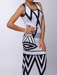 scoop neck sleeveless printed maxi dress for women in white
