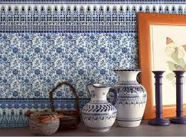 crackle glass mosaic blue and white tile backsplash
