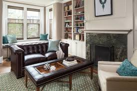 tufted leather sofa living room contemporary with animal hide rug