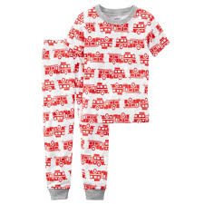 Carter's Boy's Fire Truck Print Snug Fit Short Sleeve PJs 2-Pc ...