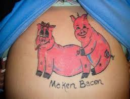 Woman With Maken Bacon Making Macon On Stomach Girl Worst Tattoos Bad Funny Stupid Crazy