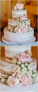 Naked Wedding Cake Rustic White And Pink Roses Three Tiers