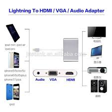 8pin To Hdmi Vga With Audio Splitter Digital Av Adapter For Iphone
