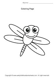 Dragonfly Coloring Sheets Pages Simple Insects Regarding Cute Page
