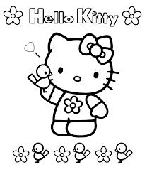 Coloriage Hello Kitty Oiseaux à Imprimer