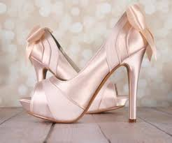 Blush Wedding Shoes Platform Peep Toe Satin and Chiffon Panels and