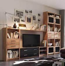 wohnwand regalwand tv wand regal kernbuche massiv geölt wohnzimmer lanatura