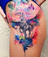 Unicorn Watercolor Hip Tattoo Ideas