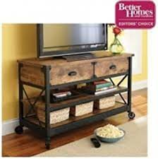 Rustic TVStand With Textured Metal Legs And Fixed Wheels Made From 100 Pine