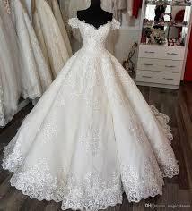 Luxury Wedding Dress 2018 Robe Ball Gown f Shoulder Long Court