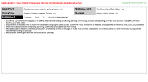 Horticulturist CV Resume Template Format