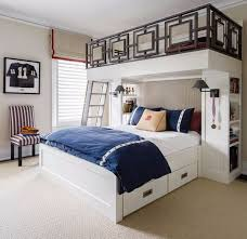 Geometric Fretwork On The Custom Bunk Beds Makes Old Son Joes Bedroom More Sophisticated Than Juvenile