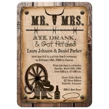 Post Wedding Reception Only Invitations With Western Theme Vintage