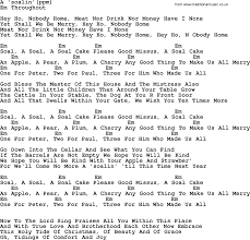 Peter Paul and Mary song A Soalin lyrics and chords