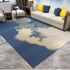 großhandel drucken gelbe blaue geometrische 3d wohnzimmer teppich im chinesischen stil schlafzimmer teppiche gold curve nordic teppiche und teppich
