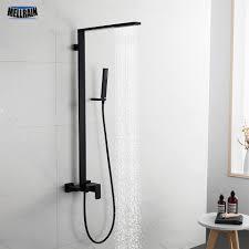 minimale design schwarz bad dusche set solide messing 3 modi