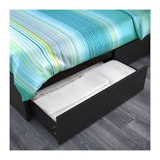 malm bed frame high w 4 storage boxes black brown luröy 160x200
