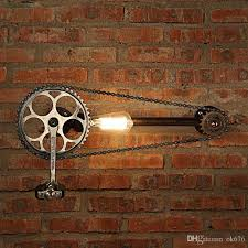 2018 New Bicycle Gear Chain Wall Lamps Industrial Style Iron Art