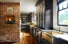 Greenville South Carolina United States Exposed Chimney Kitchen Traditional With Farmhouse Faucets Brick Wall