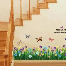 Wall Mural Decals Flowers by Butterfly U0026 Grass Flowers Wall Border Easy To Peel And Stick