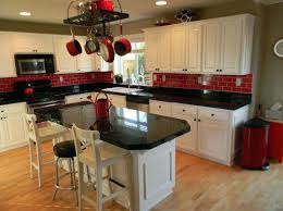 White And Red Kitchen Cabinets Black Tiles